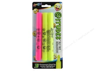 art, school & office: Liquimark Emoji AtiTUDES Silly Face Highlighter Fluorescent Yellow/Pink