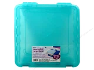 Darice Organizer Box Stackable With Handle 14 in.x 14 in. Teal