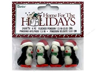 Darice Holiday Flocked Penguin Santa Cap 1.5 in.  4 pc