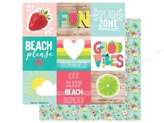 Simple Stories Collection Hello Summer Paper 12 in. x 12 in. Elements 4 in. x 4 in. (25 pieces)