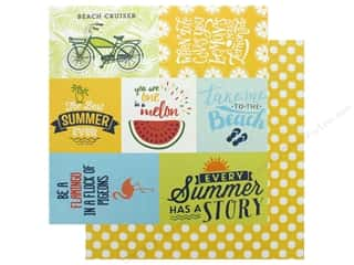 scrapbooking & paper crafts: Authentique Collection Summertime Paper 12 in. x 12 in. Five (25 pieces)