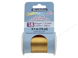 Beadalon ColourCraft Copper Wire 18 ga Brass Light 10 yd