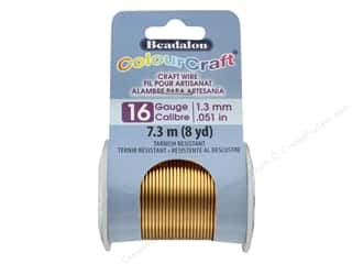 craft & hobbies: Beadalon ColourCraft Copper Wire 16 ga Brass Light 8 yd