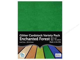Paper Accents Glitter Cardstock Variety Pack 8 1/2 x 11 in. Enchanted Forest 6 pc.