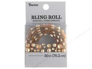 Darice Sticker Bling Roll Rhinestone Pearl Champagne 30 in.
