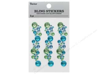 Darice Sticker Bling Strip 3 in.  Blue/Green/Crystal 3 pc