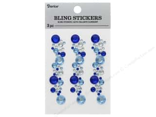Darice Sticker Bling Strip 3 in. Blue/Crystal 3 pc
