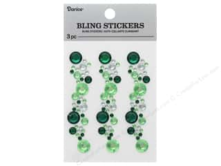 Darice Sticker Bling Strip 3 in. Green/Crystal 3 pc