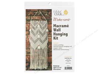 craft & hobbies: Solid Oak Kit Macrame Wall Hanger Chevrons & Tassels
