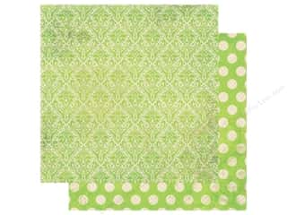 Clearance: Bo Bunny Double Dot Damask Paper 12 in. x 12 in. Kiwi (25 pieces)