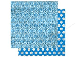 Clearance: Bo Bunny Double Dot Damask Paper 12 in. x 12 in. Brilliant Blue (25 pieces)