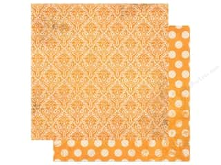 Bo Bunny Double Dot Damask Paper 12 in. x 12 in. Orange Citrus (25 pieces)