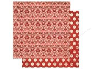 Bo Bunny Double Dot Damask Paper 12 in. x 12 in. Wild Berry