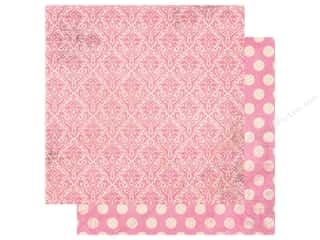 Bo Bunny Double Dot Damask Paper 12 in. x 12 in. Passion Fruit