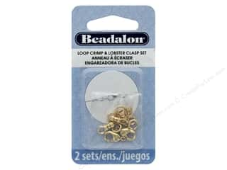 beading & jewelry making supplies: Beadalon Clasp Lobster Loop Crimp Set 2 mm Gold 10 pc