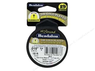 beading & jewelry making supplies: Beadalon Bead Wire 19 Strand .015 in. 24 K Gold Plate 15 ft.