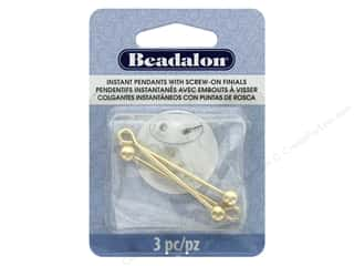 beading & jewelry making supplies: Beadalon Findings Instant Pendant Round 36.6 mm x 1.6 mm Gold 3 pc