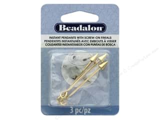 beading & jewelry making supplies: Beadalon Instant Pendant 6 x 7.5 mm Cone Screw-on Finials 3 pc. Gold