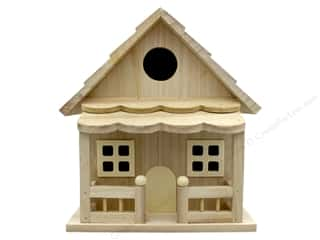 projects & kits: Darice Wood Birdhouse With Porch Unfinished