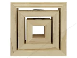 Darice Wood Candle Holder Unfinished Square 3 pc