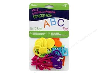 Orange felt: Darice Felties Sticker Alpha 1 in. Bright 79 pc