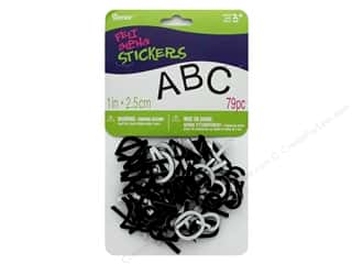 Darice Felties Sticker Alpha 1 in. Black 79 pc