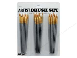 craft & hobbies: Darice Artist Paint Brush Set 50 pc. Assorted
