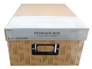 craft & hobbies: Darice Organizer Storage Photo Box 7.5 in. x 4 in. x 11 in. Tan Pattern