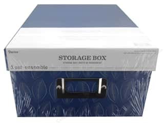 craft & hobbies: Darice Organizer Storage Photo Box 7.5 in. x 4 in. x 11 in. Blue Leaves