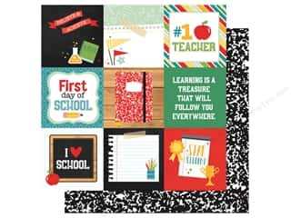 Clearance: Echo Park Collection Back To School Paper 12 in. x 12 in. Journal Cards 4 in. x 4 in. (25 pieces)