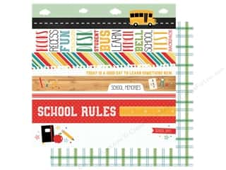 Clearance: Echo Park Collection Back To School Paper 12 in. x 12 in. Border Strips (25 pieces)