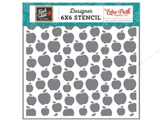 Clearance: Echo Park Collection Back To School Stencil Apple A Day