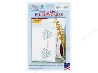 Jack Dempsey Pillowcase Perle Edge White Butterflies