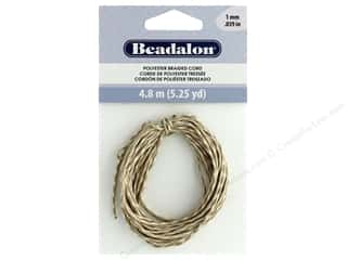 beading & jewelry making supplies: Beadalon Cord Poly Braided 1mm 5.25yd Tan & White