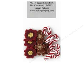 Clearance: Legacy Patterns Accents Wooly Trees Button Pack December Christmas