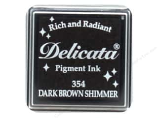 Tsukineko Delicata Pigment Ink Pad Small Dark Brown Shimmer
