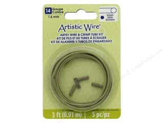 beading & jewelry making supplies: Artistic Wire Artsy Wire With Crimps 14 Gauge Olive 3 ft