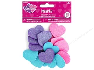 stickers: Darice Sticker Valentine Wood Glitter Hearts 18 pc