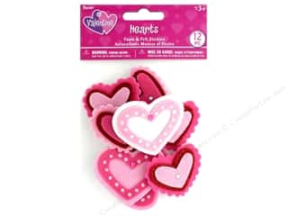 stickers: Darice Sticker Valentine Foam N Felt Heart 12 pc