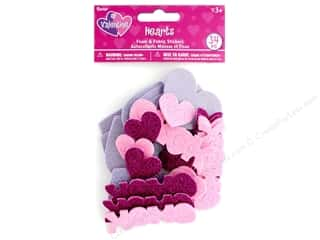 stickers: Darice Sticker Valentine Foam N Fabric Heart 34 pc