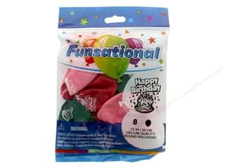 Balloon: Pioneer Funsational Balloons 12 in. 8 pc. Happy Birthday