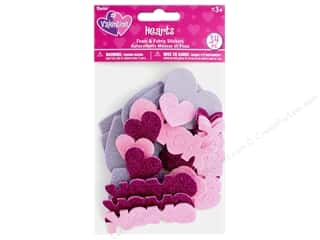 Darice Sticker Valentine Foam N Fabric Heart 34 pc