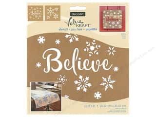 craft & hobbies: DecoArt Stencil Value Kraft 8 in. x 8 in. Christmas Believe
