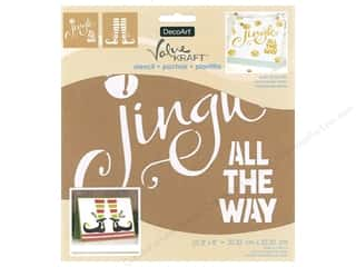 craft & hobbies: DecoArt Stencil Value Kraft 8 in. x 8 in. Christmas Jingle All The Way