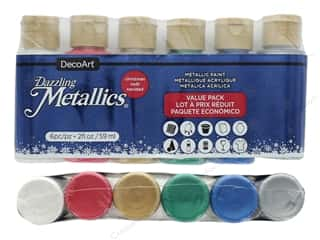 DecoArt Dazzling Metallics Paint 2 oz Value Pack Christmas 6 pc