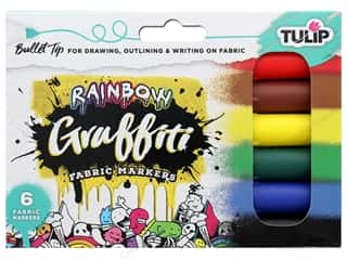 craft & hobbies: Tulip Fabric Marker Graffiti Bullet Rainbow 6 pc