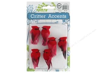 novelties: Sierra Pacific Crafts Feathered Cardinal 1.75 in. Red 6 pc
