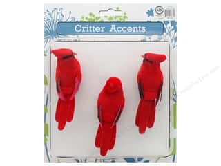 novelties: Sierra Pacific Crafts Feathered Cardinal 4 in. Red 3 pc