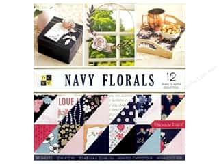 "Premium Cardstock: DieCuts With A View Stacks Paper 12""x 12"" Navy Florals Foil Gold"
