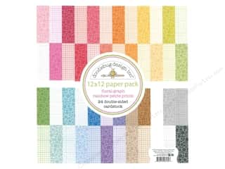 Doodlebug Collection Petite Prints Paper Pack 12 in. x 12 in. Floral/Graph Rainbow